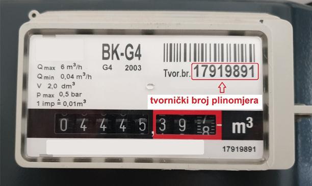 tvornički broj plinomjera